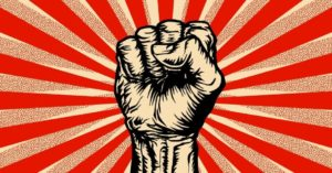 An illustration of the Marxist symbol of a raised fist. (Freeda Michaux / Shutterstock)